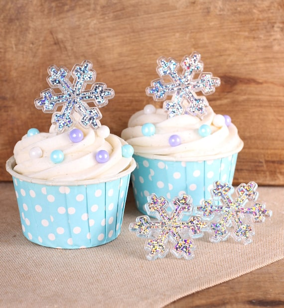 Glitter Snowflake Cupcake Rings, Frozen Winter Party Cupcake Toppers, Snowflake Kids Party Favor Rings, Snowflake Cupcake Toppers (12 ct)