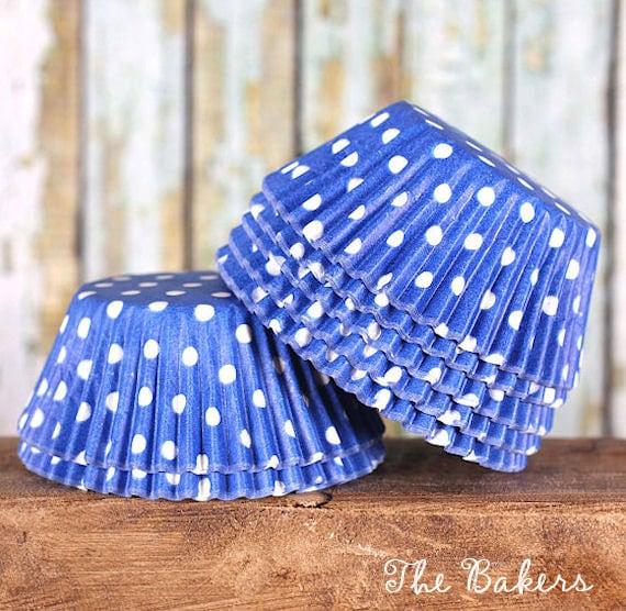 Blue Polka Dot Cupcake, Wedding Cupcake Liners, Polka Dot Baking Cups, Royal Blue Cupcake Liners, Cupcake Paper Liners, Cupcake Cases (50)