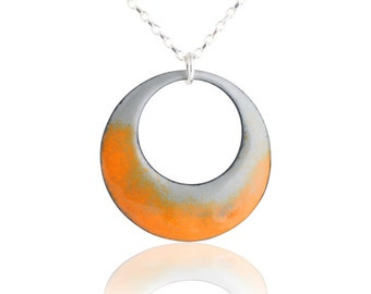 Orange Mod Circle Necklace