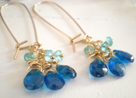 Pool Earrings in Teal Blue and Aqua Apatite, 14 K Goldfill Kidney wires