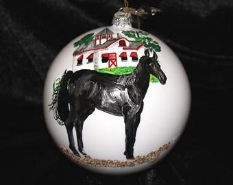 HAND-PAINTED ORNAMENT - Black Horse Item 638