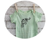 Revolver Baby Shirt, Organic Cotton Baby Onepiece Bodysuit in Light Mint Green, Hand Printed, Short Sleeved, Screenprinted, spring pastel