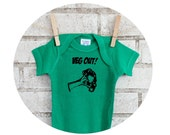 "Baby onepiece ""VEG OUT"" broccoli vegetable Gardening, cotton bodysuit, infant one piece, Kelly Green, Vegan, Vegetarian, Farm Fresh Produce"