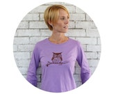 Owl Tshirt, Lilac Ladies Long Sleeved Screen-Printed T Shirt, Cotton Crewneck, Woodland Animal, Graphic Tee Shirt, Fall and Winter CLothing