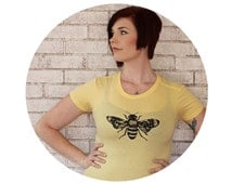 Honey Bee Shirt, Lace Wings, Womens Fitted Cotton Crewneck, Junior Fit, Light Yellow Hand Printed Screenprint Tshirt, Ladies T Shirt, Insect
