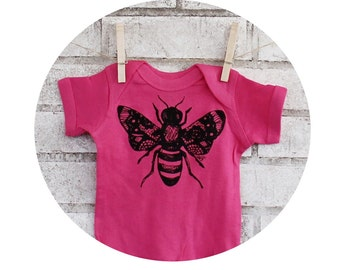 Bumble Bee Baby Onepiece, Cotton Bodysuit, Infant Romper, Bright Hot Pink, Summer Neon, Short Sleeved, Hand Printed Screenprinted Top Insect