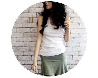 Olive drab Skirt, Foldover Mini Skirt, Yoga Skirt, Roller Derby Skirt, knit skirt
