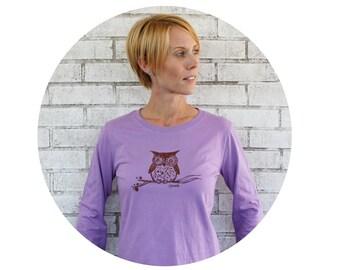 Owl Tshirt, Lilac Ladies Long Sleeved Screen-Printed T Shirt, Cotton Crewneck, Woodland Animal, Graphic Tee Shirt, Fall and Winter CLothing