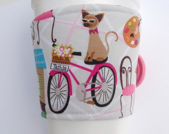 Coffee Cup Cozy Paris Cat Shop Bicycle Cafe  Coffee Sleeve