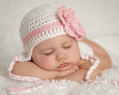 Crocheted  White with pink stripe and flower Earflap hat