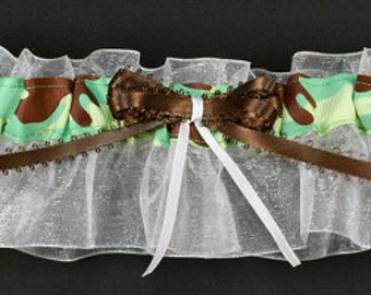 Personalized Green Camouflage Bridal Garter