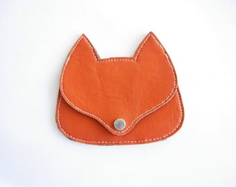 Orange faux  leather  Fox pouch, fox coin purse, wallet