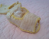 Hand knit newborn slippers vintage