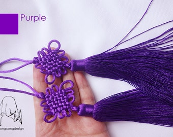 Chinese knot tassels PURPLE-LAVENDER color set of 2,Luck Charm