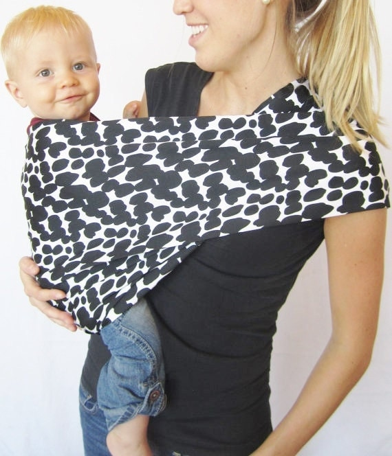 Dalmation Spots Baby Sling---Stretch Sateen---Neutral Pattern, easy to use