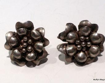 Vintage Sterling Silver Flower Earrings Circa 1940s
