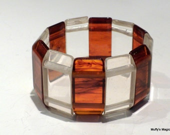 Sale Root Beer Bakelite and Lucite Panel Stretch Bracelet