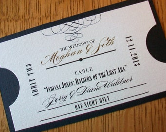 Place or Escort Card - Ticket Design 1.25 each - Any color