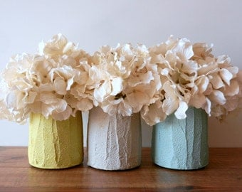 Choose one / small vase / short vase / Pastel Home Decor / choose out of set of 3 / yellow, grey, and mint vases