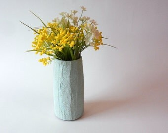 Mint green Vase / mint Home Decor / Concrete and Glass Vases