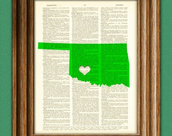My Heart is in Oklahoma state map awesome upcycled vintage dictionary page book art print