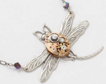 Steampunk Necklace Vintage rose gold watch movement gears red garnet crystal Art Nouveau silver dragonfly pendant by Steampunk Nation