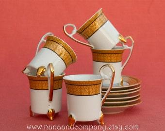 Vintage 1980's Greek / Mediterranean Tea Set - Gold - 11 pieces - Cups and Saucers - Excellent Condition