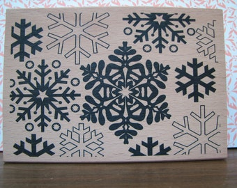 Large Background Stamp -  Snowflakes - Traditional - Christmas  - Card Making - Tags - Ditto - New - Wood Mounted Stamp