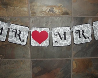 Mr Mrs Sign Chair Sign Mr Mrs Wedding Chair Sign Photo Prop Wedding Bridal Shower Decoration Banner Damask Banner Sign READY TO SHIP