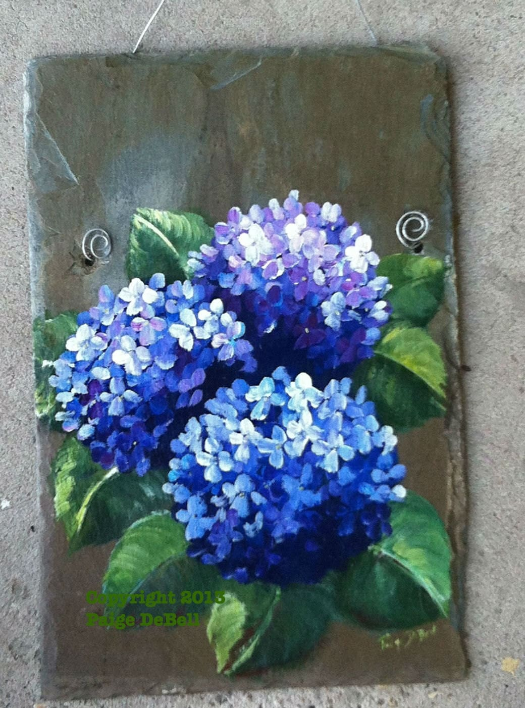 Blue Hydrangeas Painted On Salvaged Slate Plaque By