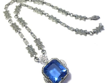 Stunning Art Deco Rhodium Silver Filigree Open Back Blue Crystal Vintage Art Deco Necklace Art Deco Jewelry