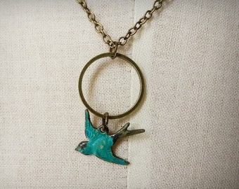 Teal turqouised blue  patina antique bird on antique bronze circle chain necklace