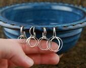 Circle earrings in sterling silver, hoop earrings, sterling silver circles, circle links, casual simple, sterling silver ring, simple circl