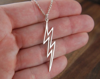 Large lightning bolt necklace in sterling silver, lightning bolt charm, lightning necklace, bolt necklace, silver lightning, mother's day