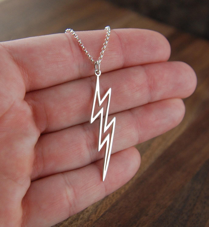 Large Lightning Bolt Necklace In Sterling Silver Lightning