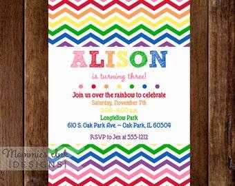 Vertical Rainbow Chevron Birthday Invite - White Background - Rainbow Party - Rainbow Invite - PRINTABLE INVITATION DESIGN