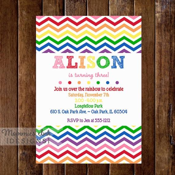 Rainbow Birthday Invite Party Arts And