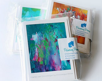 Painting Pony Greeting Cards - Art Prints - Colorful - 8 Pack Blank Set