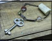 THE HAUNTED FOREST. Handmade Rustic Bracelet. Deer antler, Flourite sphere, Bloodstone Jasper & Vintage Key. Natural taximery eco friendly