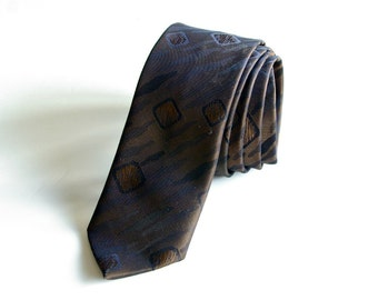 skinny black and bronze 1960s atomic tie - 1211063