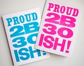 Letterpress 30s Birthday Card neon pink or bright blue, 30th