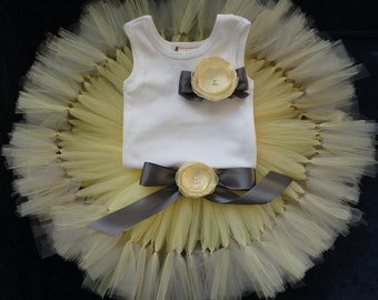 Grey and Yellow Baby Dress