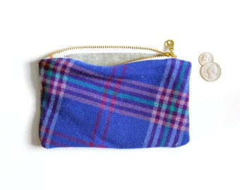 Pendleton vintage fabric zippered pouch, organic zipper