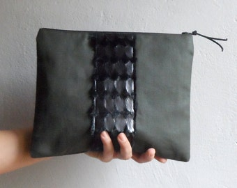 Army Green Linen Clutch with Black Faux Fur , Women Clutch, Boho Fashion