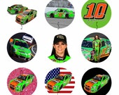 1 Inch Circle Images for bottle cap, scrapbooking, cupcake or other - Danica Patrick 10 Nascar Racing With Automatic Digital Download