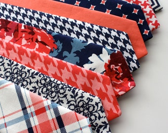 Little and Big Guy Necktie Tie - Navy and Coral Collection - (Newborn-Adult) - Baby Boy Toddler Teen Man - (Made to Order)