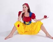 Snow White Halloween Costume Dress Custom Made to Measure Plus Size Womens Adult Handmade Costume  Yellow Red Blue