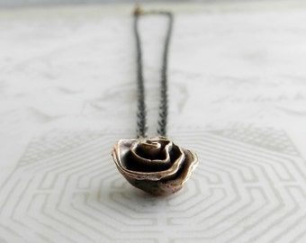 "Small Flower Necklace, Victorian Style Jewelry, Antique Brass Chain 17"", Dainty Black Rose Pendant, Hipster Chic, Simple Abstract Accessory"