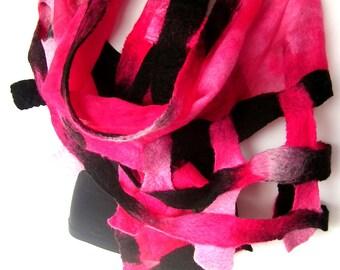 Nuno Felted Scarf, Hot Pink Baby Pink Black, Lattice Scarf, Silk Merino Wool Felted Wrap