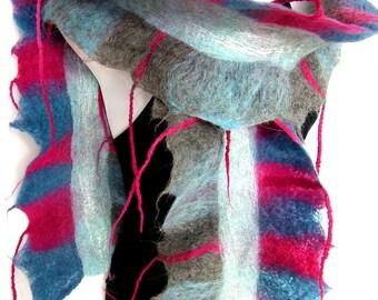 Felted Scarf, Ruffle, Wavy, Skinny, Gray Blue Magenta, Felt Scarf With Tassels Fringes, Merino Wool Alpaca Boho Style
